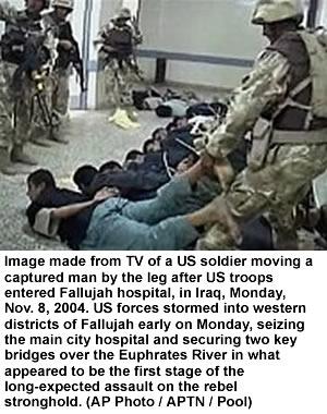 US soldiers tie up doctors in a Fallujah hospital