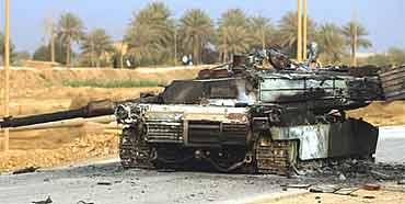 US tank blown up in Fallujah