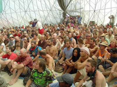 Part of the audience at one of the MAPS/Palenque Norte lectures at Burning Man 2005