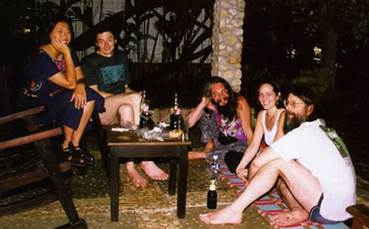 An evening on the porch at the Chan Kah hotel in Palenque, Mexico with Jonathan Ott,  Christian Rätsch, Rob Montgomery and friends