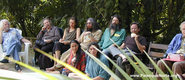 Sasha Shulgin, Ann Shulgin, Kat Harrison, Christian Rätsch, Rob Montgomery, Manuel Torres, Ralph Metzner, Claudia Mueller-Ebeling and Jonathan Ott . . . a few members of the faculty at the the last Entheobotany Seminar at Palenque, January 2001. www.PalenqueNorte.org