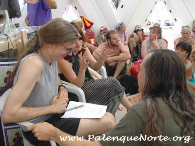 Allyson Grey talking with Lorenzo Hagerty at Burning Man 2003