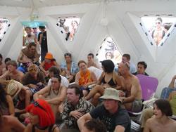 Listening to Alex Grey at Burning Man 2003
