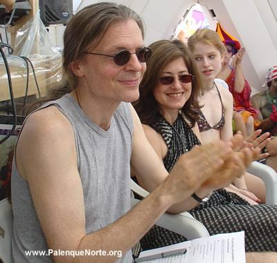 Alex Grey, Allyson Grey, & Zena Grey pepare to speak at Palenque Norte - Burning Man 2003
