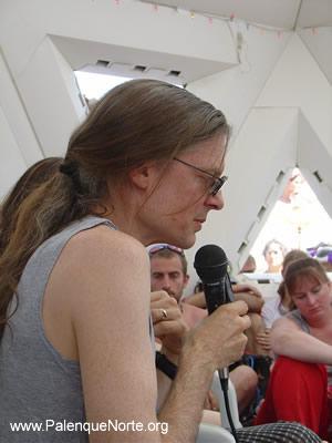 A pensive Alex Grey at Burning Man 2003